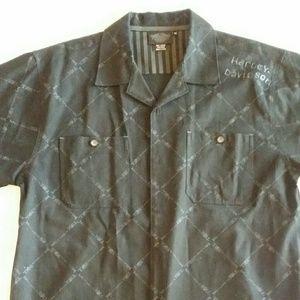 Mens Harley-Davidson M Button Down Shirt Embroider